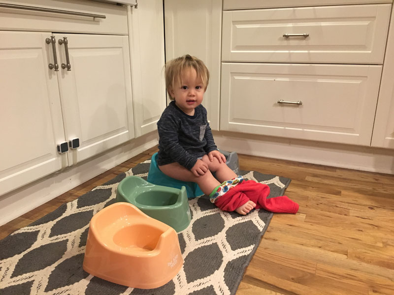 b trying out the new mini potty