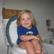 young toddler on toilet