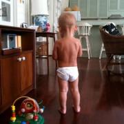 16 month baby boy in tiny underwear