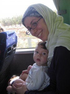 Emily ECing on the bus from the Casablanca airport to Rabat