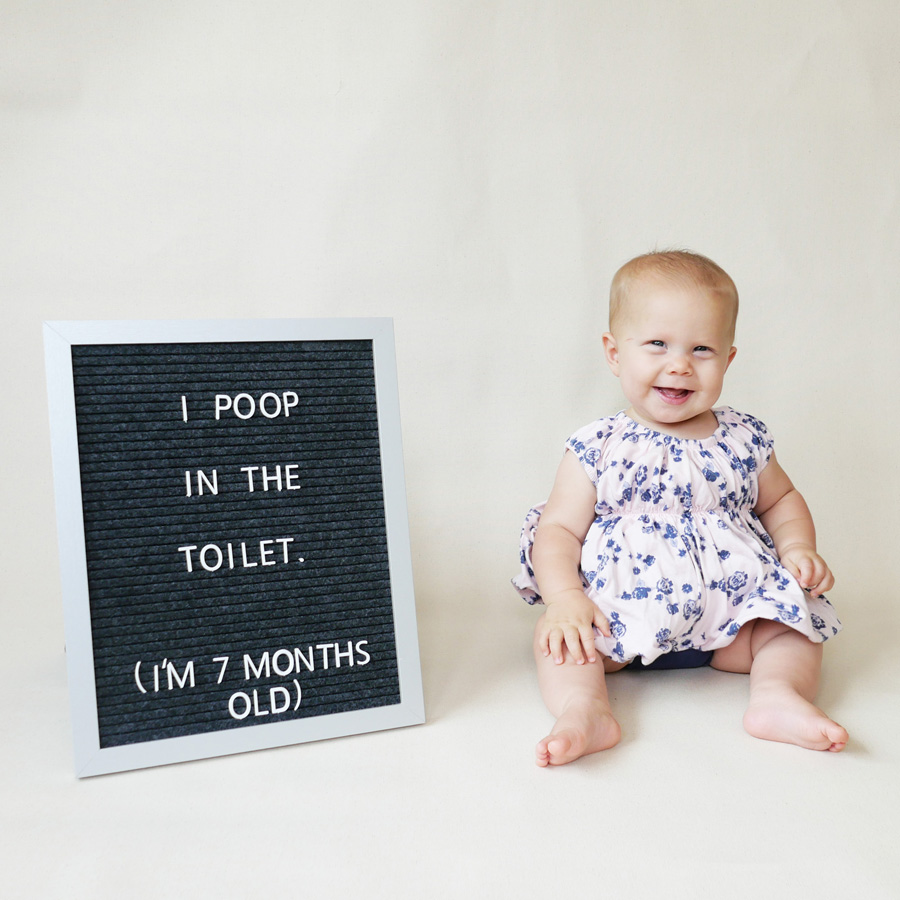 Twyla i poop in the toilet at 7 months old