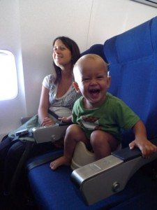 elimination communication - pottying baby on an airplane
