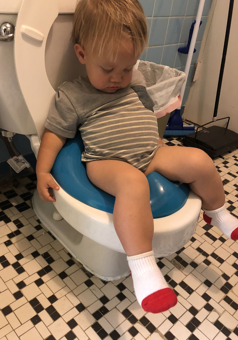asleep on the potty at preschool