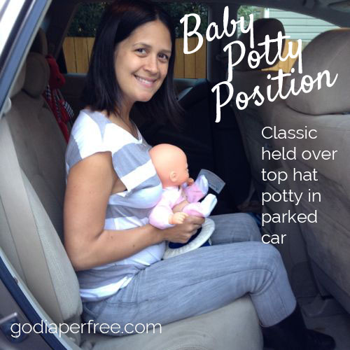 baby potty position - classic over top hat potty in car