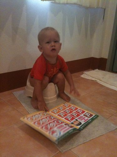 infant potty training - books at potty time are good no matter the language