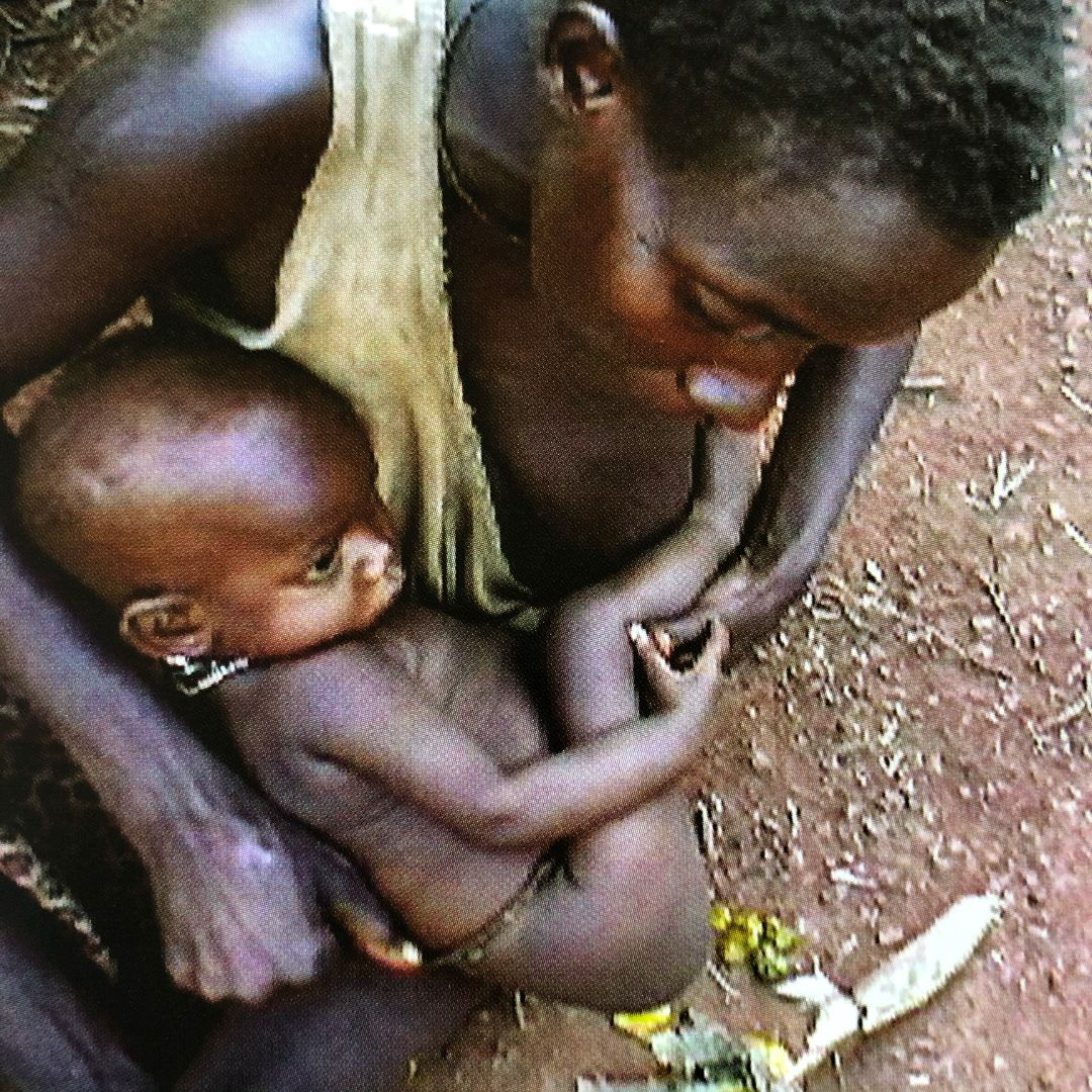 indigenous african baby pottied over ground