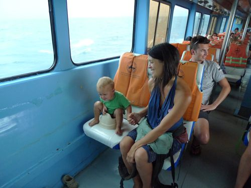 pushing it out in the potty instead of the diaper on boat