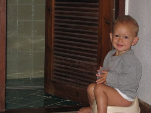 infant potty training - set up the potty in your hotel first